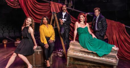 Broadway, regional and Marriott stars in Kander and Ebb revue at Marriott Theatre. L, Amanda Rose, Allison . Blackwell, Joseph Anthony Byrd, Meghan Murphy and Kevin Earley.(Photo courtesy of Marriott Theatre)