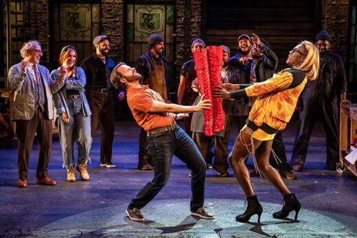 Devin DeSantis (L) is Charlie and Michael Wordly is Lola in Kinky Boots at Paramount Theatre. (Photo by Liz Lauren.)