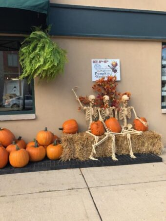 Pumpkins and skeletons and lining up in Highwood for the Great Pumpkin Fest ( J jacobs photo)