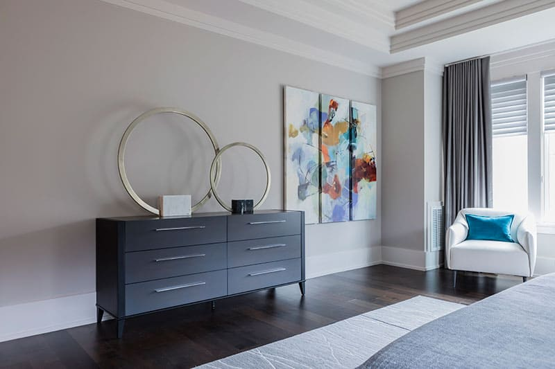 bedroom furniture and art
