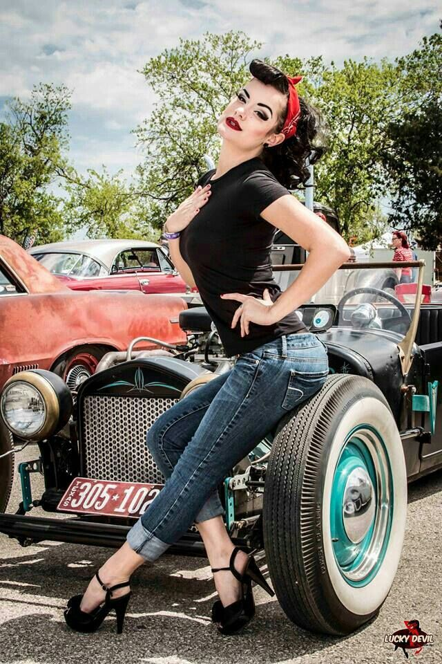 rockabilly greaser girl with classic car