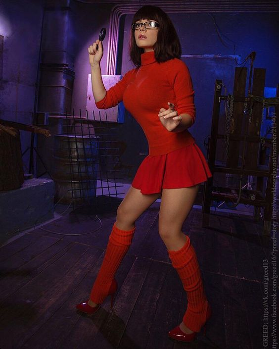 sexiest velma cosplay in red hot brunette
