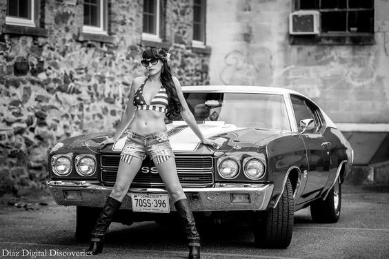 black and white photo pinup rockabilly girl ss chevelle