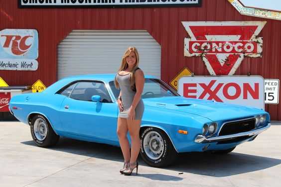 busty girl with blue classic camaro