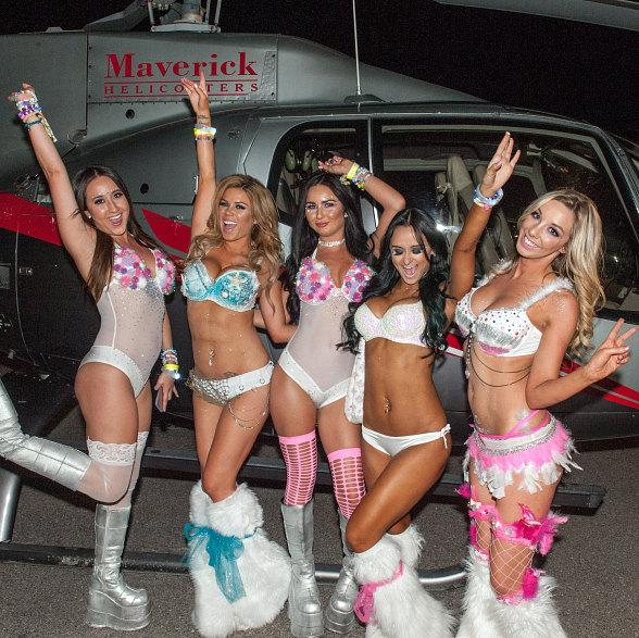 fun edm rave girls helicopter