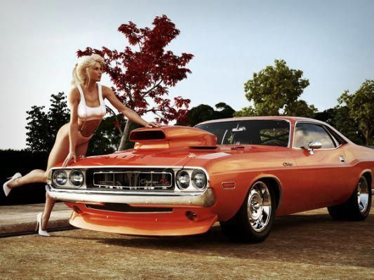 blonde babe with red orange muscle car