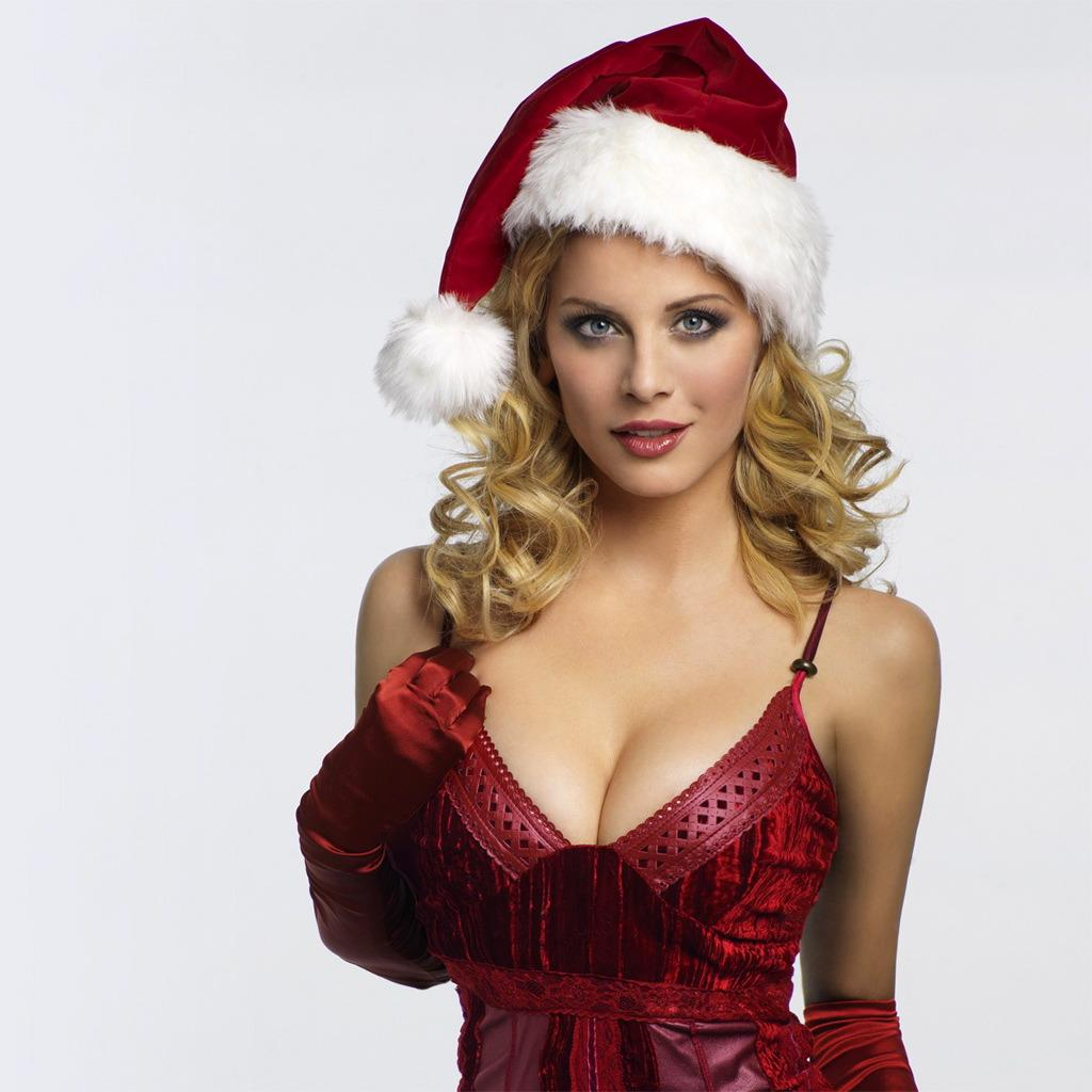 busty blonde with holiday nightie