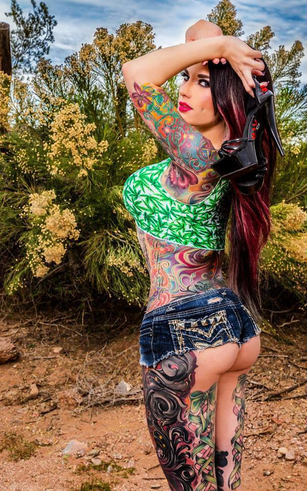tattoos and jean shorts cannabis top brunette hot