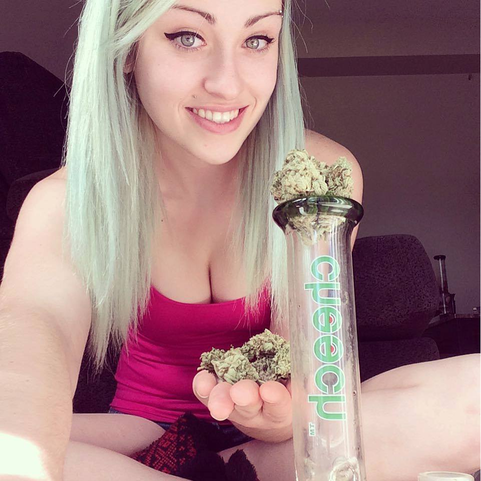 cute blonde with big buds and big bud and bong