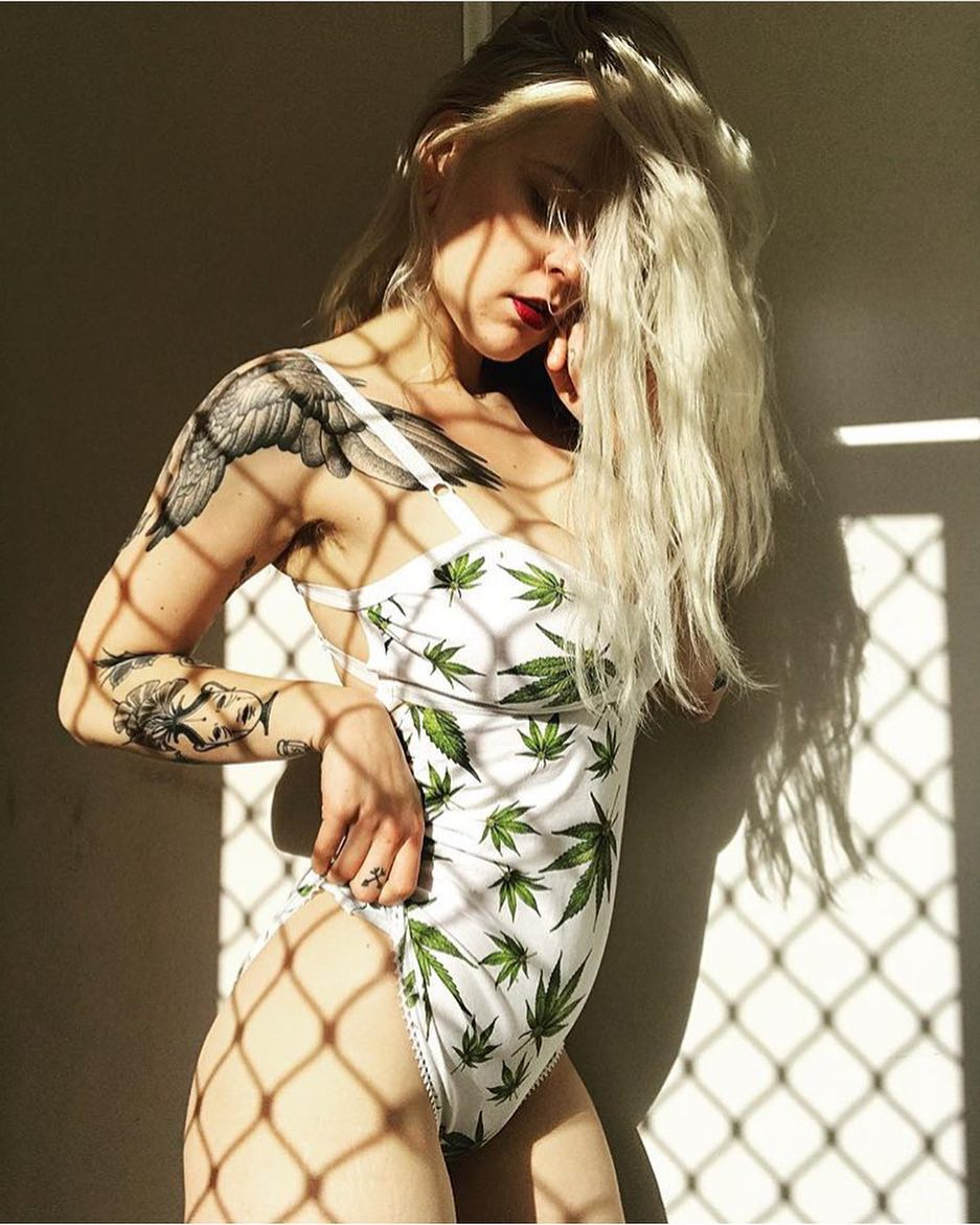 tattooed blonde babe with weed print lingerie sexy