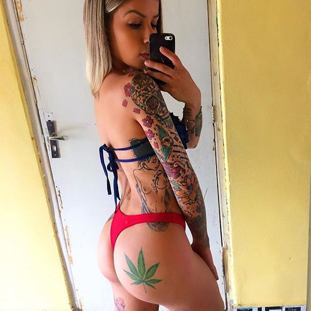 blonde cutie with weed tattoo on butt hot sexy