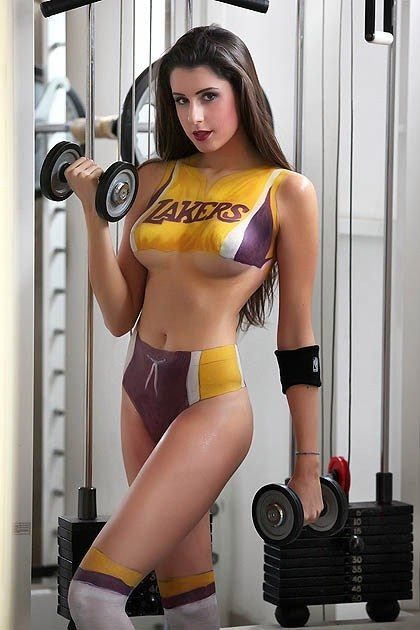 lakers girl working out with weights babe brunette