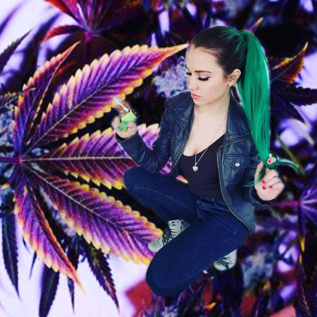 green haired babe getting high