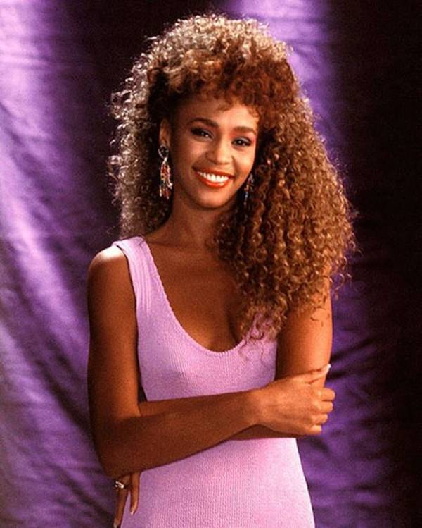 whitney houston big 1980s hair