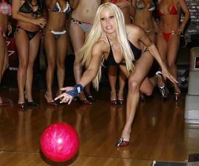hot girl in heels bowling