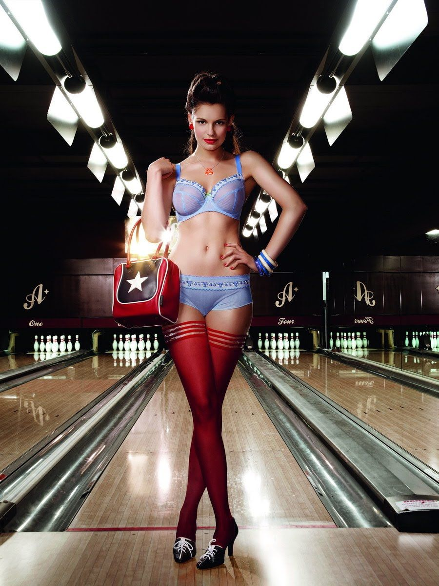 elegant photo shoot with bra and panties bowling team