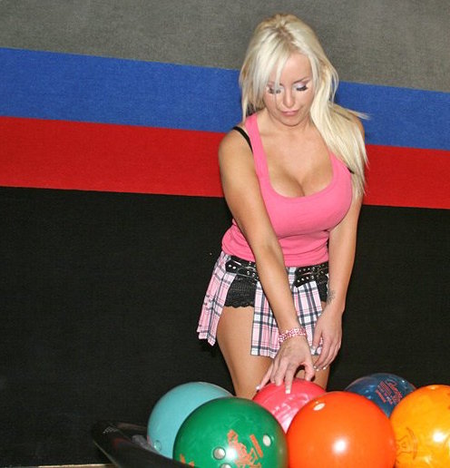 busty blonde bowling night pink