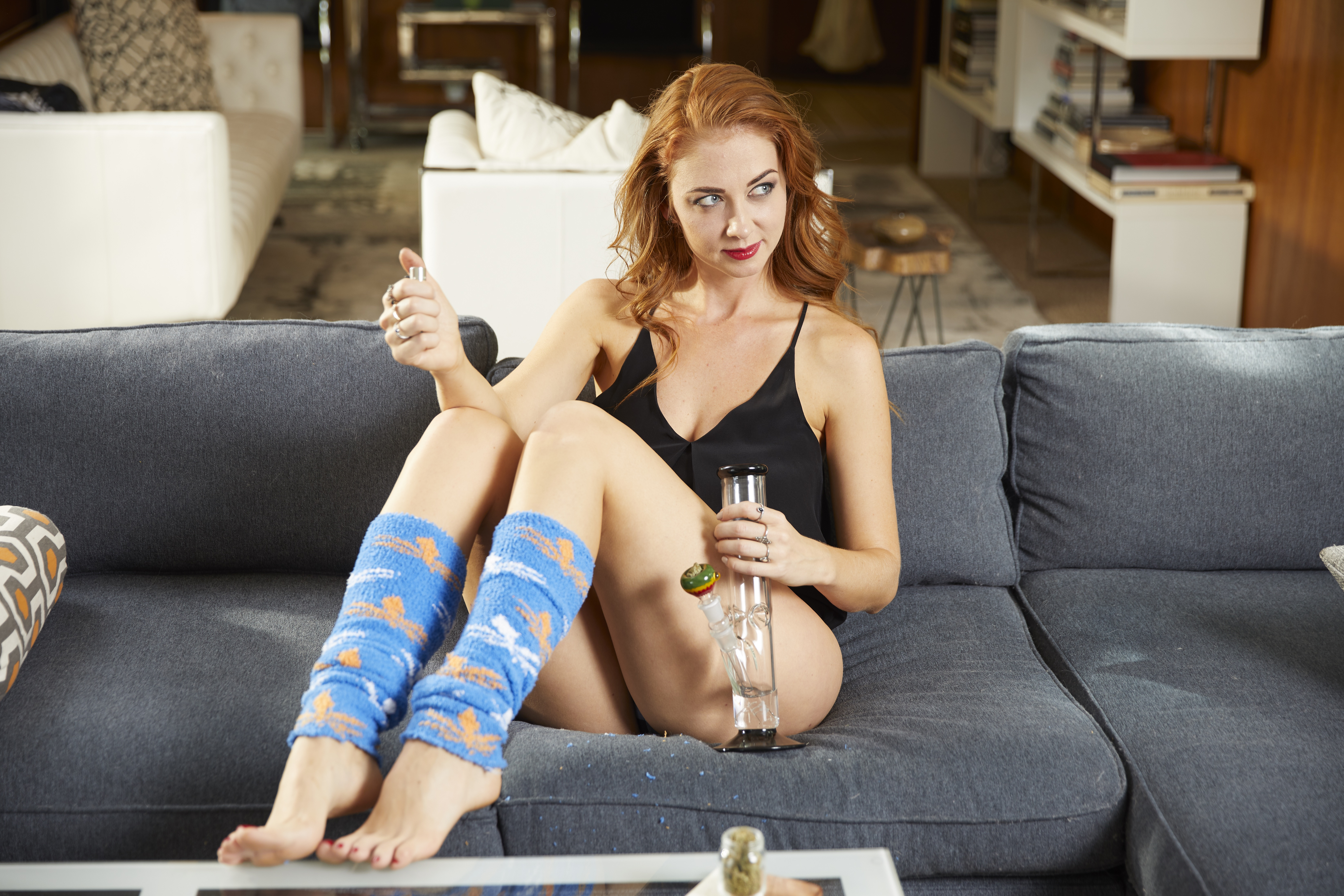 fun sox socks inessa on the couch getting high stoned