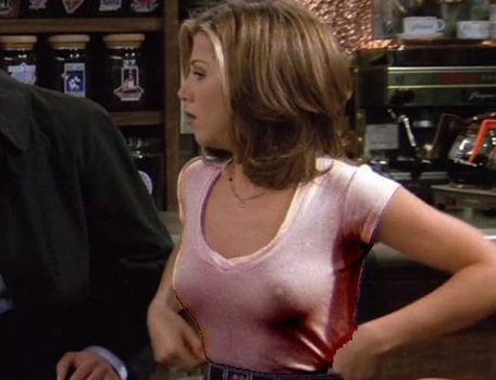 great nipple nipples jennifer aniston see through on friends rachel tight shirt