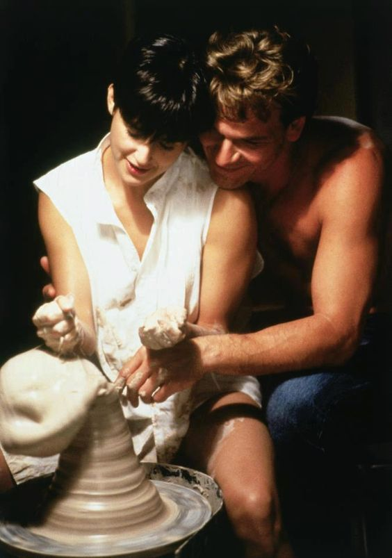 patrick swayze with demi moore in ghose with clay wheel
