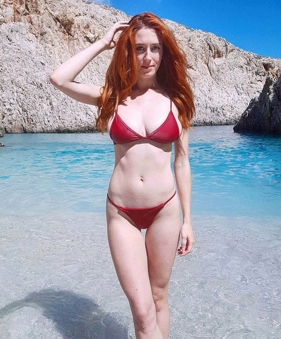 skinny lil red head by the lagoon sexy red