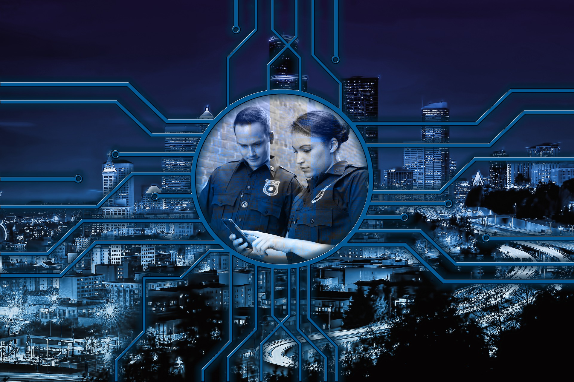 digital drawing of a cityscape with data lines and two officers looking at a cellphone