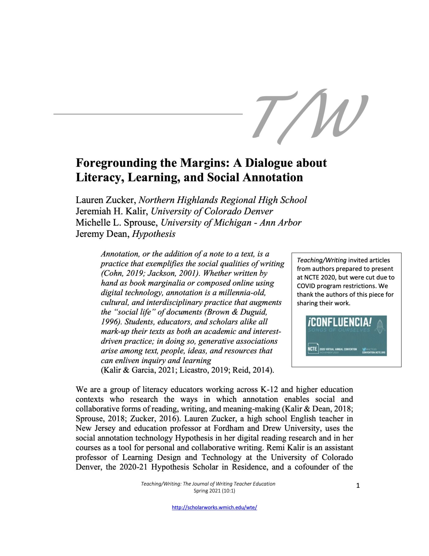Foregrounding the Margins: A Dialogue about Literacy, Learning, and Social Annotation