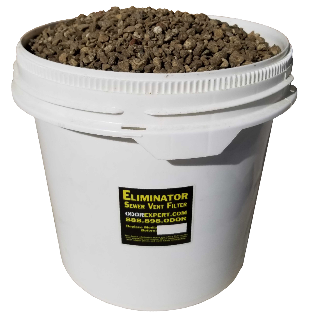 A bucket of our sewer vent filter