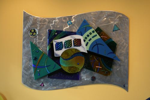 Fused Glass Wall Sculpture Mounted on Aluminum Panel, 30x40 inches