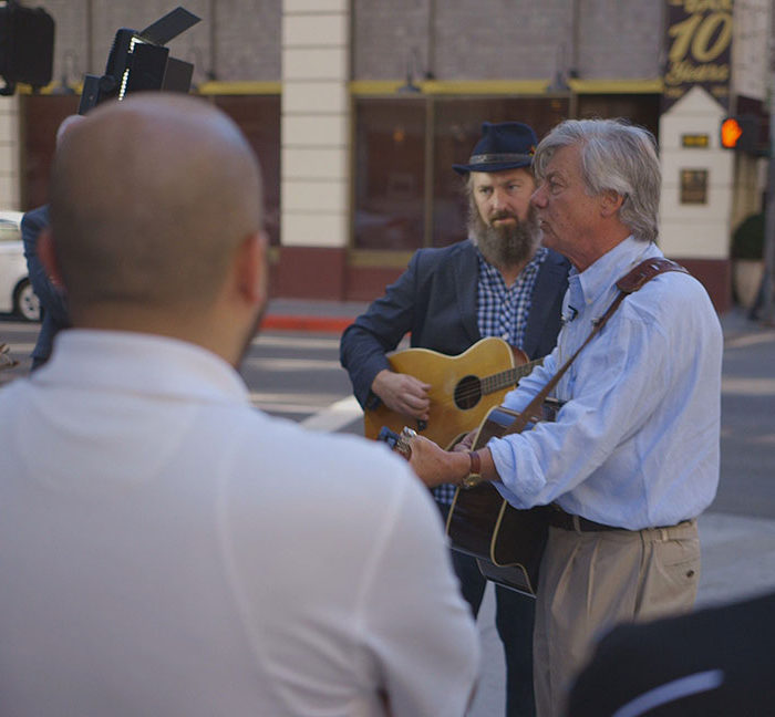 Darryl Holter and Tim Young play Radio Songs at Woody Guthrie Square
