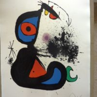 Fine art print by Modern artist Joan Miro after cleaning.