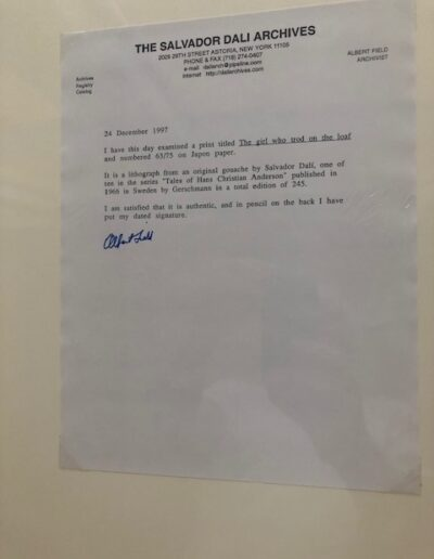 Dali - The Girl who Trod on the Loaf: letter from Salvador Dali Archives