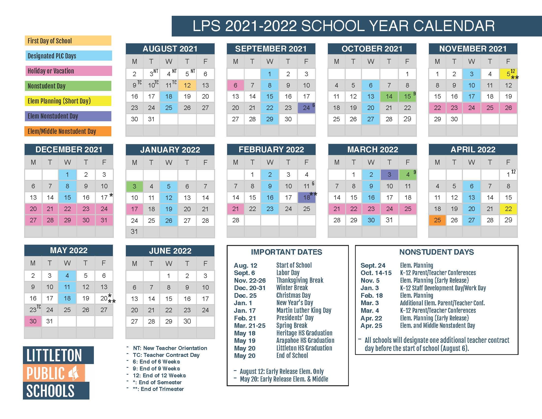 LPS school calendar