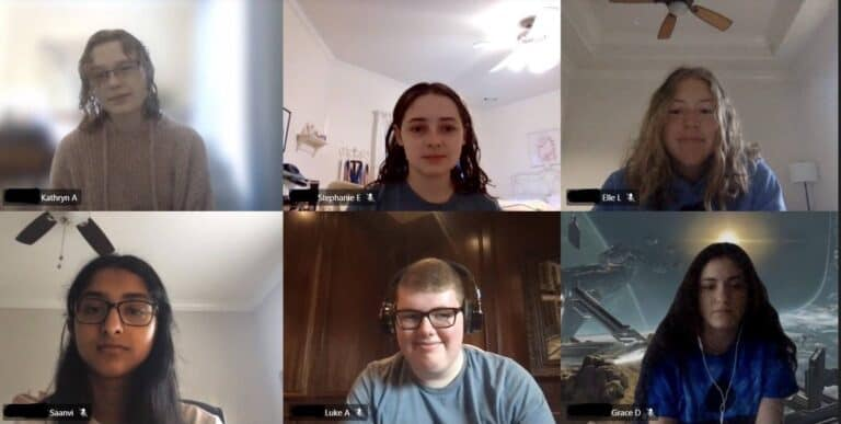 Students who have created unlimited impact are shown in an online meeting