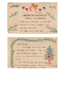 A holiday letter from Edith with drawings of candles and a Christmas tree
