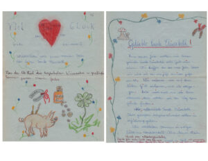 Image of a letter from Edith with Drawings of flowers and a pig.