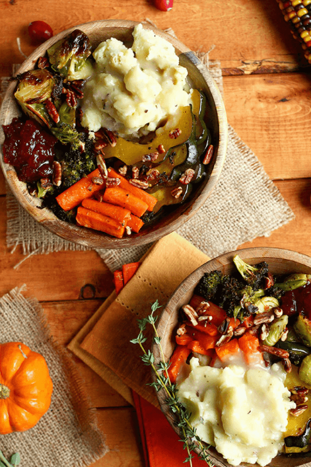 Savor the flavors of the holiday season with this Thanksgiving Leftovers Bowl, plus a round up of plant-based recipe ideas for using holiday leftovers.