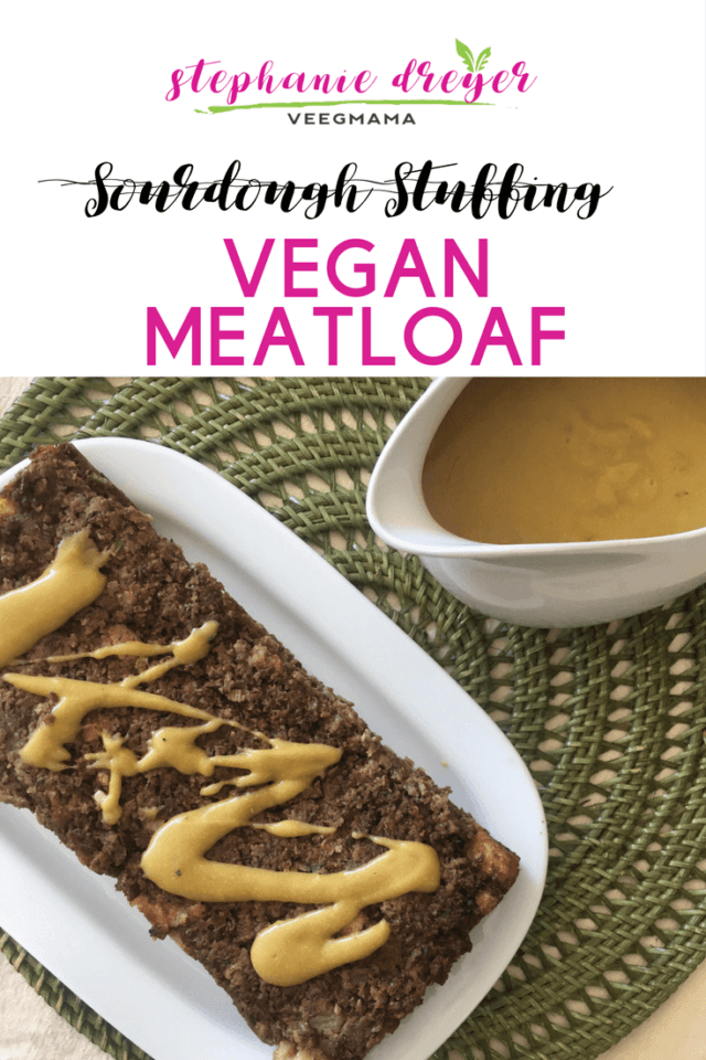 A savory stuffing is combined with the Beyond Meat Beyond Burger for this Sourdough Stuffing Vegan Meatloaf. #dairyfree #meatless #vegan #plantbased