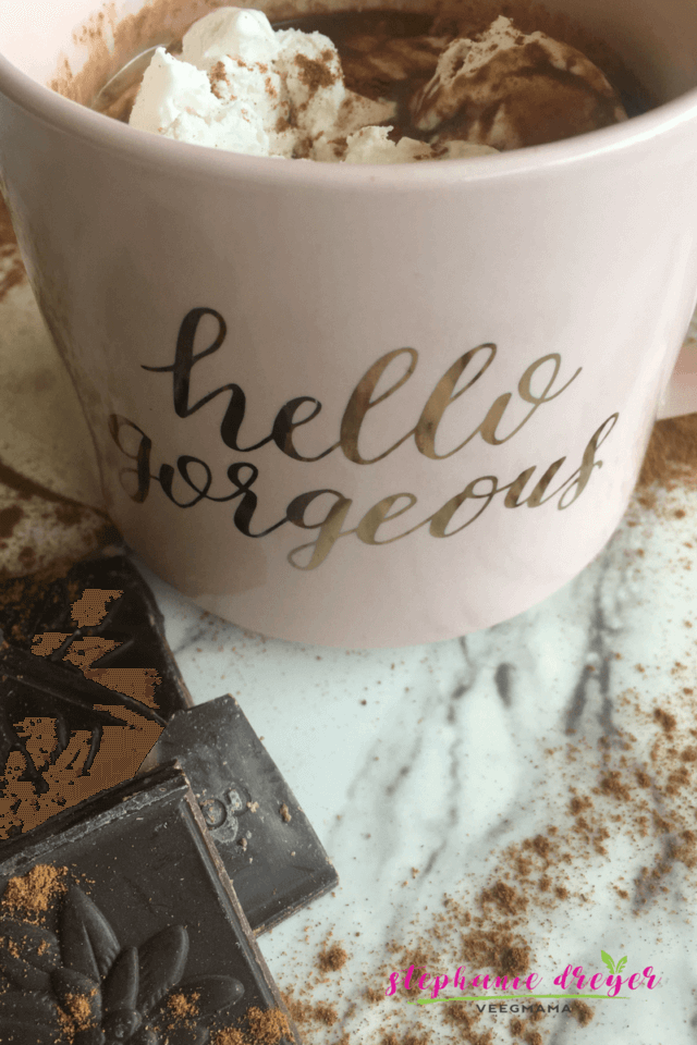 This Vegan Vanilla Cinnamon Hot Chocolate only takes 5 minutes and 6 ingredients. You won't miss the dairy with all the sweet flavors in this cup!