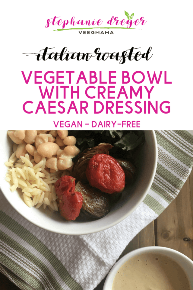This Italian Roasted Vegetable Bowl is full of flavor. Topped with a creamy, dairy-free dressing, it's a complete meal to lunch on all week long.