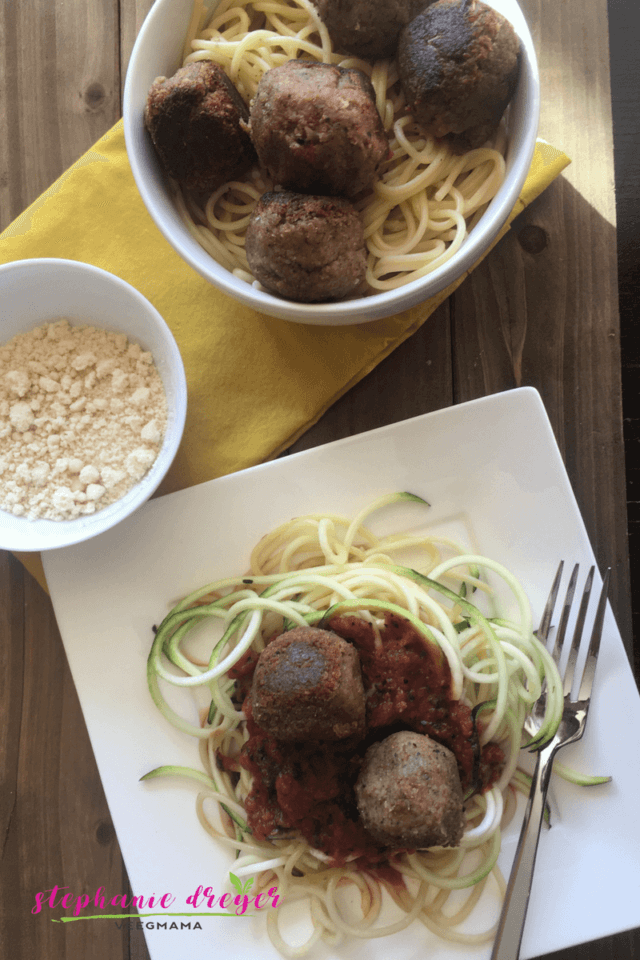 """These Lentil Walnut """"Meatballs"""" are a delicious plant-based alternative for topping spaghetti and/or vegetable noodles. Top them with my easy marinara."""