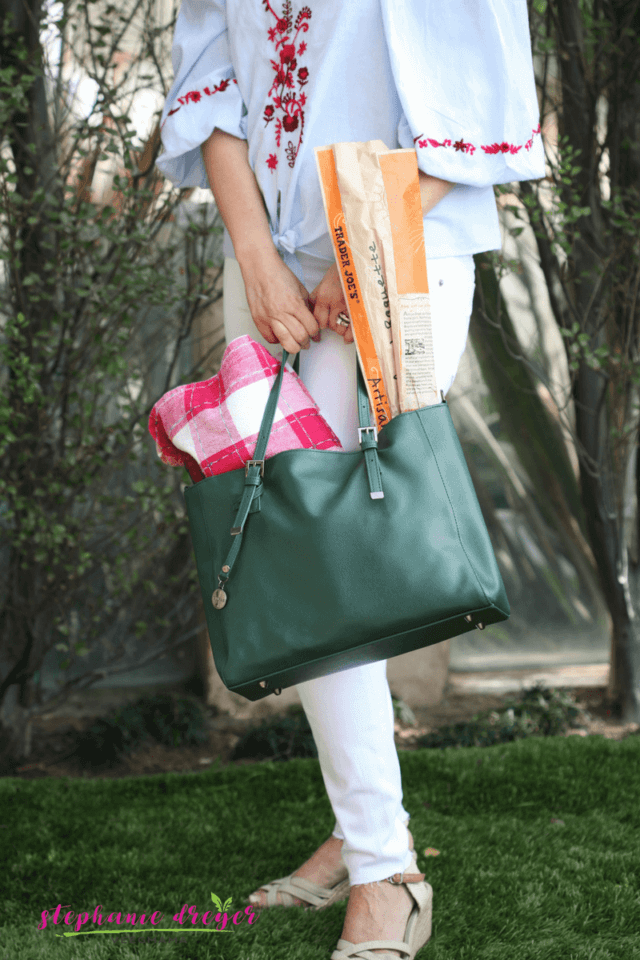 It's the perfect time of year for a spring picnic. Although any standard basket would do, I'm working on my new picture book, NOT A PURSE, and have handbags on my mind!! So I'm breaking out my GUNAS Kangaroo Saffiano in earthy dark green and filling it with all the yummies for a Spring picnic menu.