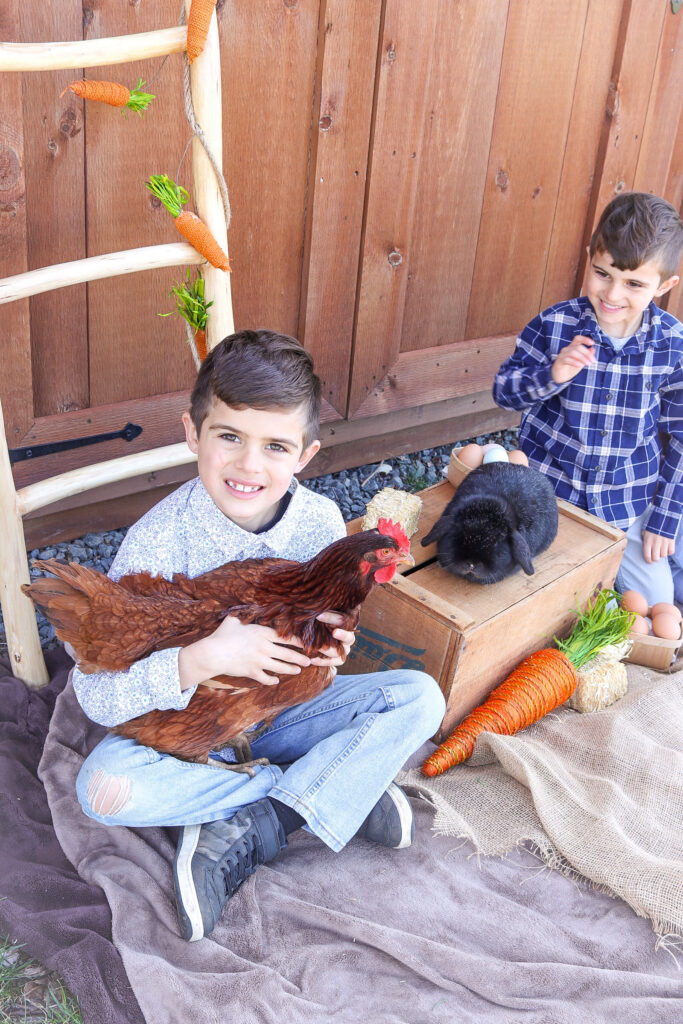 Easter photo with rabbit and chickens
