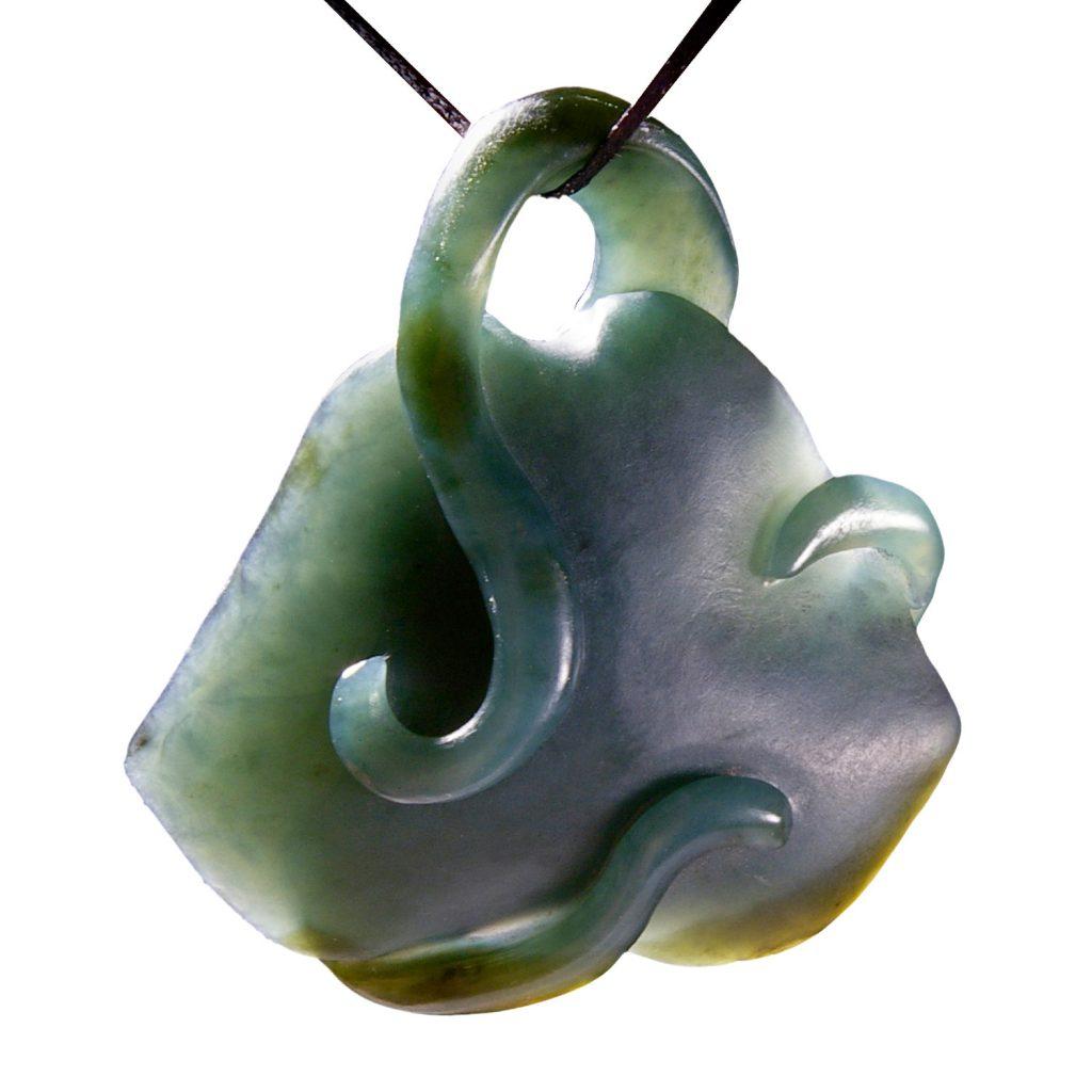 Artist Justin Barrett Jade Carver, Big Sur Jade Pendant Carving, Nephrite, Abstract