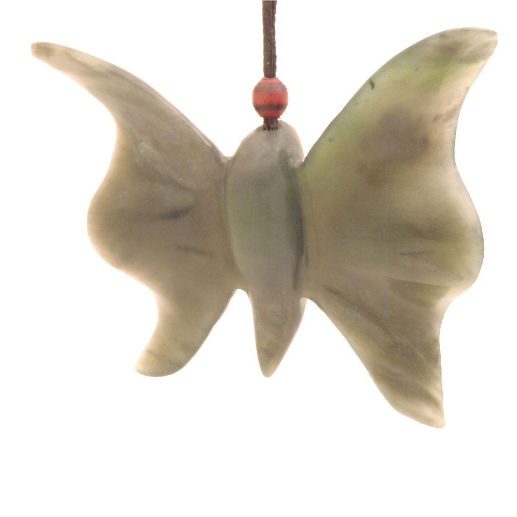 Artist Justin Barrett Jade Carver, Big Sur Jade Pendant Carving, Nephrite, Abstract Butterfly