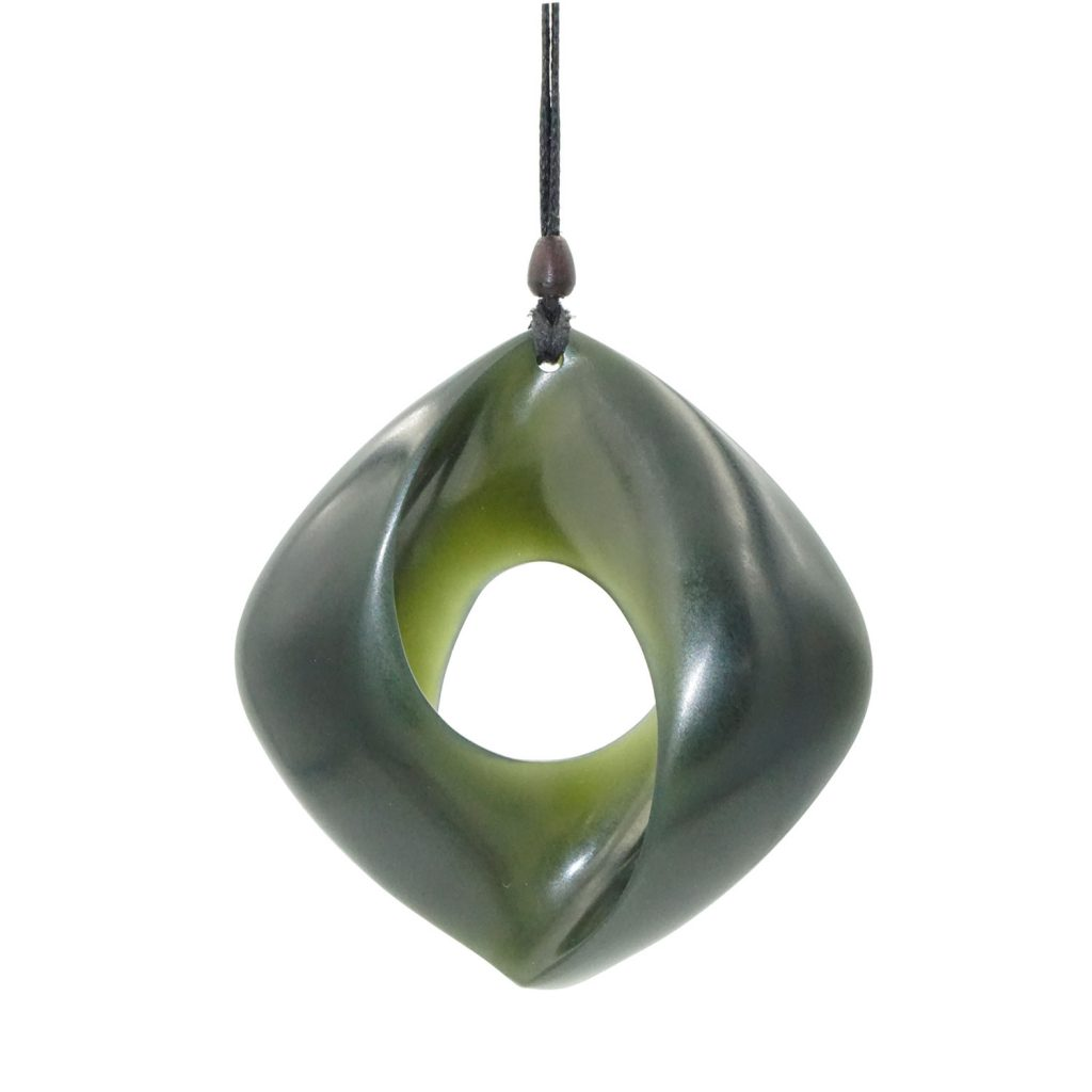 Artist Justin Barrett Jade Carver, Wyoming Olive Jade Pendant Carving, Nephrite, Mobius
