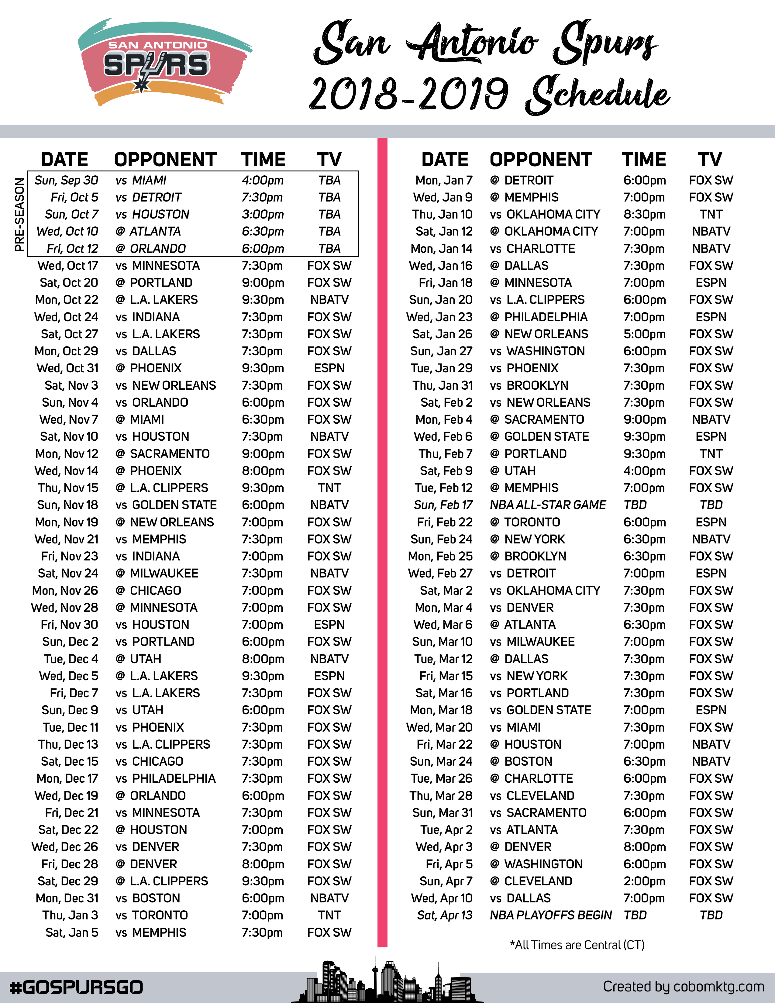 2018-2019 San Antonio Spurs Printable Schedule with TV and Central Times.