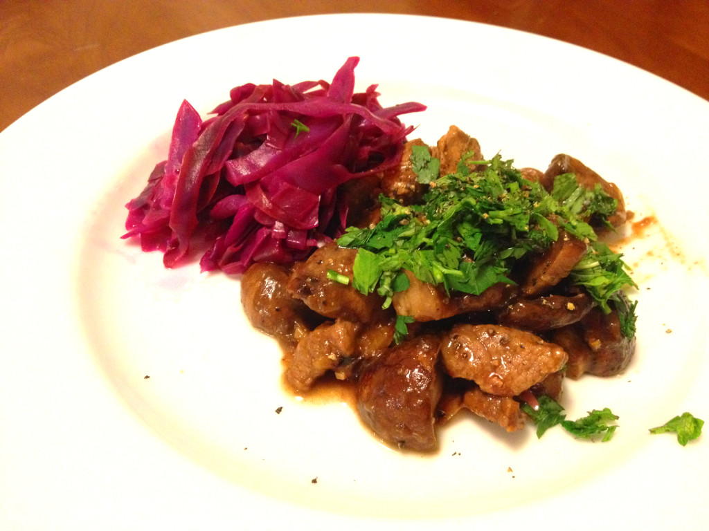Lamb stew with red cabbage.