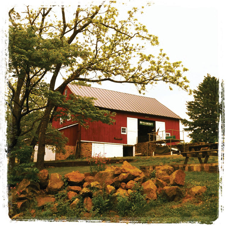 Willowcroft's red barn, built circa 1875, now serves as the winery's tasting room.