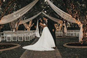 Outdoor wedding - bride and groom
